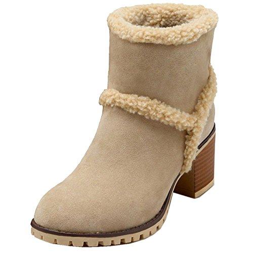 Beige Fur Snow Inner Shoes Faux COOLCEPT Boots Ankle Women Bootie Flat UAwvf8