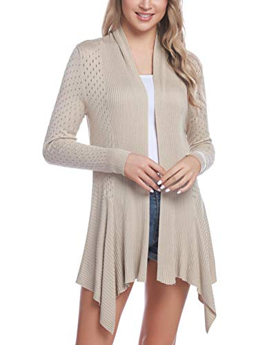 Sykooria Women's Long Cardigans Open Front Lightweight Knit Sweaters Cover Up Blouse with Pockets S-XXL