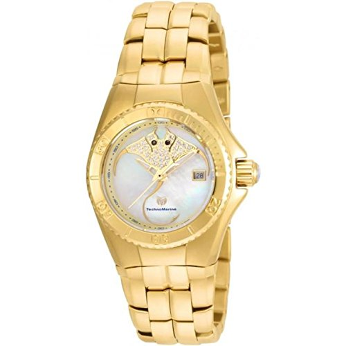 TechnoMarine Women's TechnoMarine Gold-Tone Steel Bracelet & Case Swiss Quartz White Dial Watch 115189
