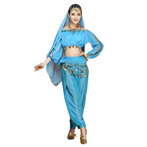 Maylong Women's Long Sleeve Belly Dancing Outfit Halloween Costume DW17 (Sky Blue) -
