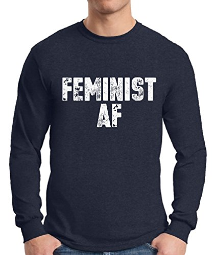 Awkward Styles Men's Feminist AF Long Sleeve T Shirt Tee Feminist Long Sleeve T Shirt Tee Gender Equality Navy - Beyonce Style