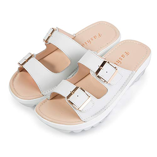 Women Wedge Sandals Two Band Platform Slides Wavy Sole Flip Flop 6.5 M US Women/Label 37 White