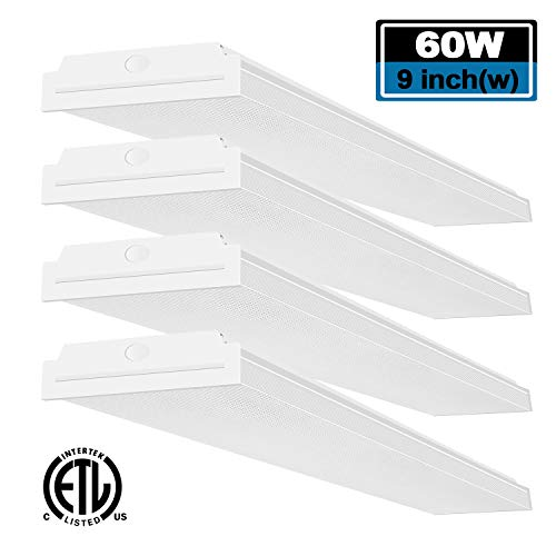 FaithSail 60W LED Wraparound Light 4FT LED Office Lights, 6600 Lumens 4000K, 4 Foot Flush Mount LED Wrap Shop Puff Ceiling Lighting Fixtures for Garage Workshop, Fluorescent Light Replacement, 4 Pack