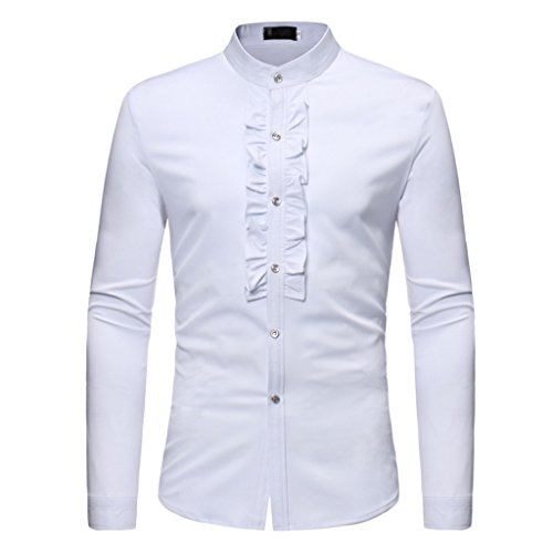 Collar Ruffle Shirt Stand (EgoLanding Men's Classic Long Sleeve White Stand Collar Ruffles Pure Color Shirt (M))