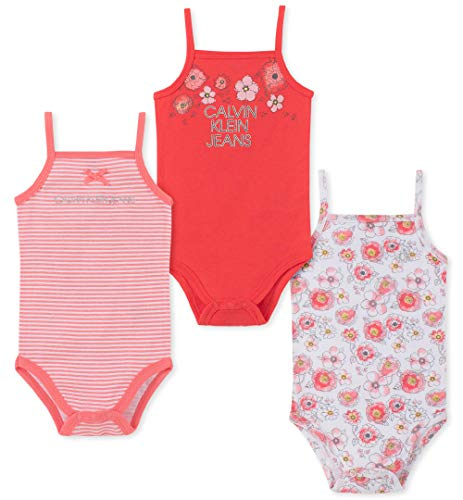 (Calvin Klein Baby Girls 3 Pieces Pack Bodysuits, Coral/Papaya/Print 18M)