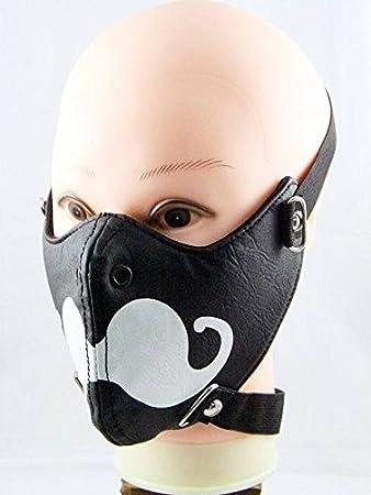 Steampunk Mask Red Metal Studded Black Biker Mask Cosplay Masque for Men//Women