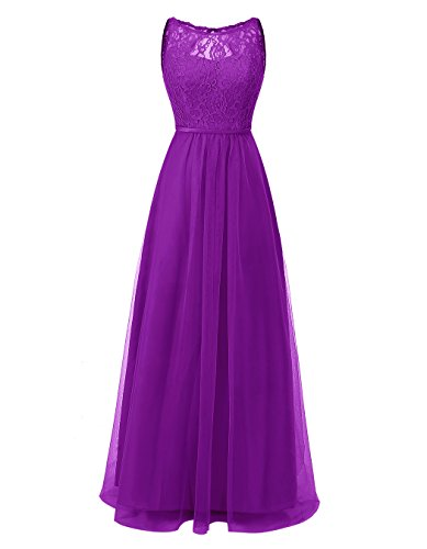 ALAGIRLS Womens Tulle Bridesmaid Dresses Long Lace Prom Party Gowns Hollow Back Dark Purple US14