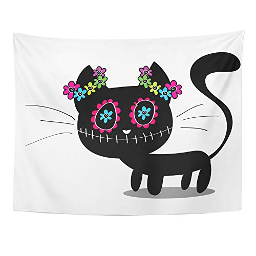 Emvency Tapestry Artwork Wall Hanging Skull Cute Black Kitten Decorated with Flowers Cat Animal Dead Mexico Monster 60x80 Inches Tapestries Mattress Tablecloth Curtain Home Decor Print]()