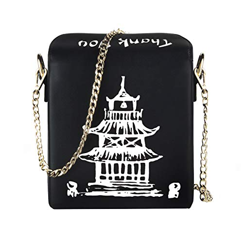 - Fashion Crossbody Bag, Ustyle Chinese Takeout Box Style Clutch Bag for Girl (black-white)