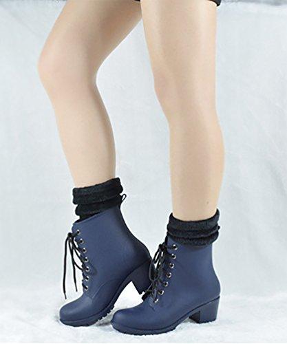 Stiefel Wasserdichte Damen LvRao Up Schuhe High Socken Lace Wellies Heel Blau Knöchel mit Stiefeletten Kurze Schnee Hohe Regen Owwd8q