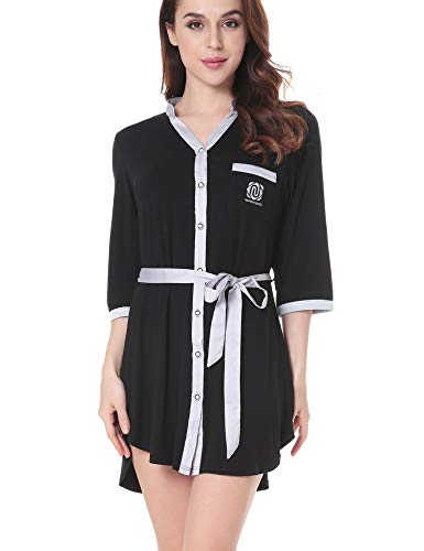- Aoymay Womens Sleepshirt Button Down V Neck Nightshirt Sleepwear Loungewer XS-XL Black