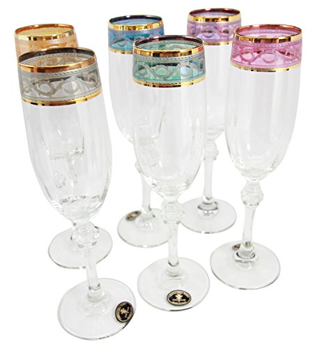 Italian Import Elegant Multi Colored Stained Glass Art With 14K Gold Rim Flute Champagne Glass Set of 6