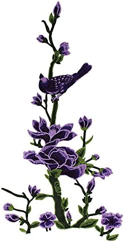 1pieces Embroidery Trees Bird Patches Women DIY Sewing for Clothing Repair Girl Dress T-shirt Fabric Badge Apparel Applique Accessories T2647 (purple) / 1pieces Embroidery Trees Bird Patches Women DIY Sewing for Clothing Repair Gir...