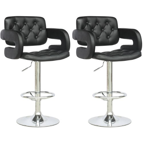 Great CorLiving DAB 909 B Tufted Adjustable Bar Stool With Armrests, Black  Leatherette, Set Of 2 Amazing Ideas