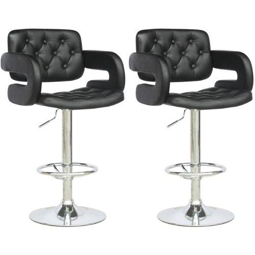 Marvelous CorLiving DAB 909 B Tufted Adjustable Bar Stool With Armrests, Black  Leatherette, Set Of 2