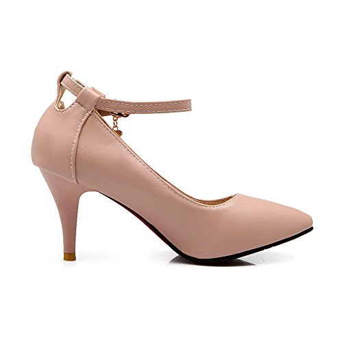 Material WeiPoot Pointed Women's Shoes Soft Buckle Heels High Closed Solid Pumps Pink Toe wqxar0qYS