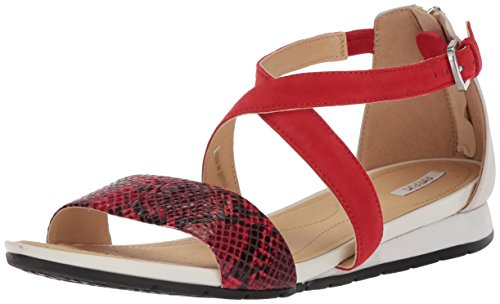 Geox Women's Formosa 15 Flat Sandal, Scarlet/Off White, 37.5 M EU (7.5 US) (Geox Flats Leather)