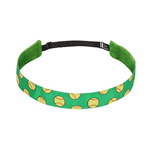 Womens Slip 1 (Non Slip Headbands for Girls | BaniBands Softball Headband for Women | Fun Colors and Patterns, Unique No Slip Headband Design | Sports Themes for Softball | Softball-Green)
