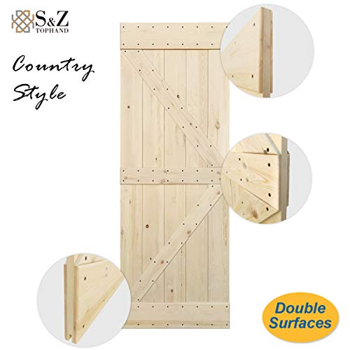 (S&Z TOPHAND 30 in. x 84 in. Unfinished British Brace Knotty Pine Barn Door/American Traditional Country Style/Sliding Door/Double Surfaces/A Simple Assembly is Required. (30, Unfinished))