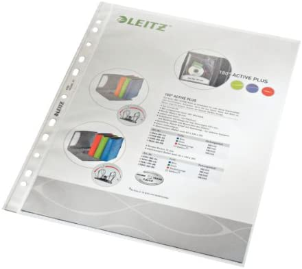 Leitz 4790-00-00 - Fundas de plástico (A4, PP, granulada A4/90µ, perforadas, parte superior abierta, 100 unidades)