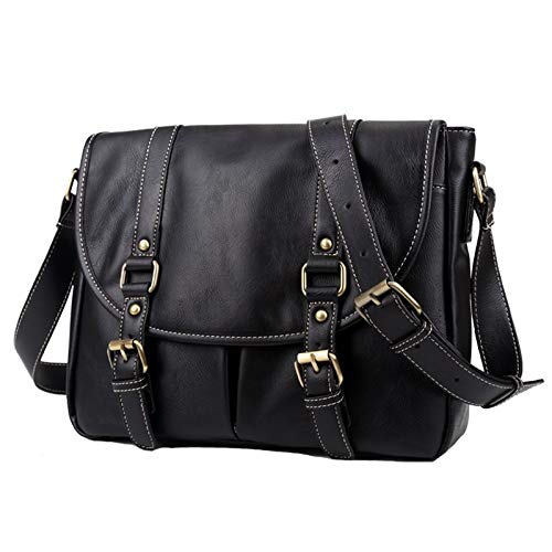 BGRFEB Retro Fashion Mens Bag PU Leather Mens Shoulder Bag Mens Bag Messenger Bag Fashion Backpack 12 Inch BGRFEB Color : Black, Size : 12 in