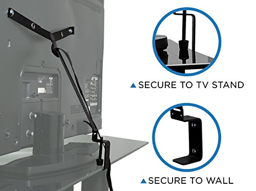 Mount-It! TV Safety Straps For Child and Baby Proofing, Anti-Tip Prevention and Earthquake Protection, Heavy-Duty Metal Connectors, Secures to TV Stand and Walls by Mount-It!