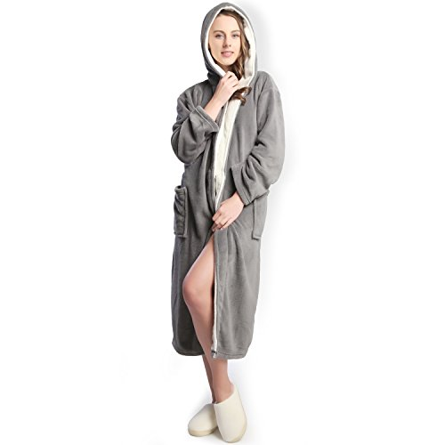Hooded Women's Grey Color Soft Spa Long Kimono Bathrobe with White Shawl Collar for Comfy Sleepwear (M)