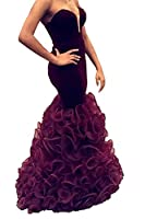 UTAMALL Burgundy Velvet Long Mermaid V Neck Prom Dresses Evening Gowns for Women