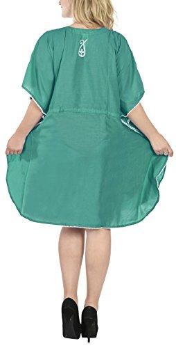 kimono tunica salotto leggero abito morbido collo profondo in signore bagno abbigliamento 5 costume pi top rayon abbigliamento LEELA ricamato LA 1 vqaw44