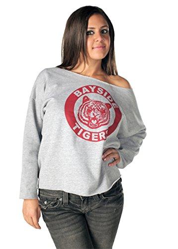 Saved by the Bell Kelly Kapowski Bayside Off the Shoulder Gray Juniors Sweatshirt (XXL) (Bell Lightweight Sweater)