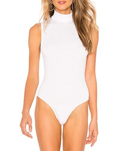 (May&Maya Women's Rib Knit Fabric Thong Back Sleeveless Turtleneck Bodysuit (White, M))