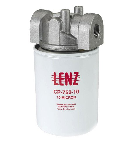 "LENZ Spin-On Filters Assembly CP-750-10-P-T: 10 Filter Micron, 200 PSI, 20 GPM, 3/4"" NPTF Port, 15 PSI Bypass, With Indicator Ports, 221006 by LENZ"