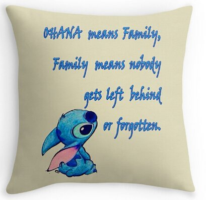 Unique Style Lilo Stitch Ohana Family Quote Soft Cartoon Cool Cover Two Size Suitbale Pillowcase Cover 18x18 inch UniqueType