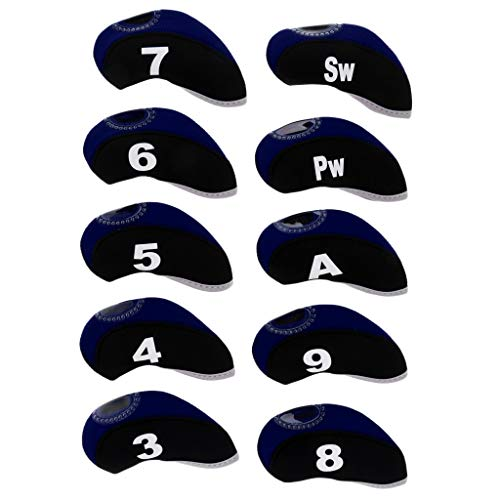 CUTICATE 10pcs Golf Club Covers, Neoprene Headcover for Golf Club Iron Head Covers and Protection Case, Heavy Duty - Black+Navy Blue