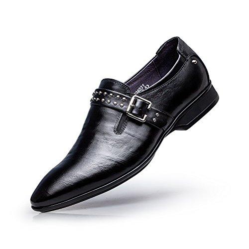 ZRO Men's Fashion Round Toe Slip On Dress Shoe Brush Off Leather Rivets Buckle Black US 10