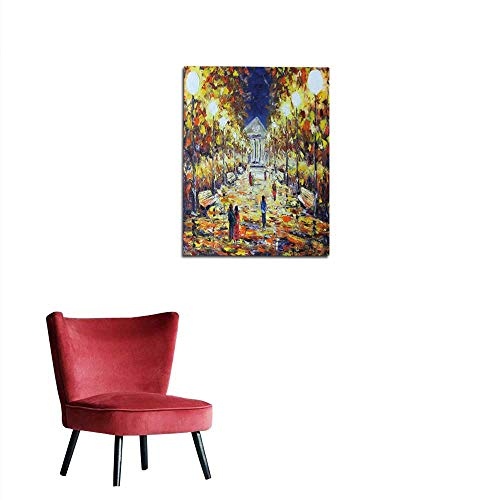 "longbuyer Wall Picture Decoration Evening Walk in The Autumn Park People White Lights Mural 32""x48"""