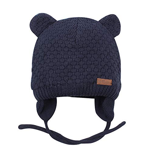 XIAOHAWANG Warm Baby Hat Cute Bear Toddler Earflap Beanie for Fall Winter 07Months Navy