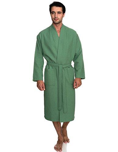 TowelSelections Men's Robe, Kimono Waffle Spa Bathrobe Large/X-Large Deep Grass Green ()