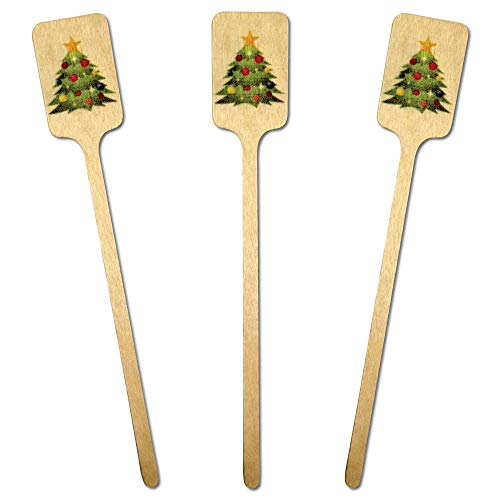 Royer 6 Christmas Tree Emoji, Festive, Holiday, Wooden Swizzle Sticks, Stirrers, Set of 28—Made in USA