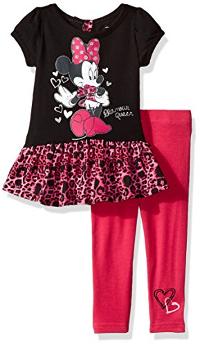 Disney Girls' 2-Piece Short Sleeve Minnie Mouse Legging Set with Chiffon, Black, 24M (Kids Disney Clothes)