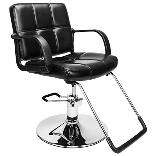 Black Hydraulic Barber Styling Chair Hair Beauty Salon Spa Chair Equipment 360 Degrees Rolling Swivel Reclining Seat (A)