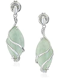 Sterling Silver Genuine Green Jade Marquise Cut 18x9mm and Diamond Accent Wire Wrapped Drop Post Earrings