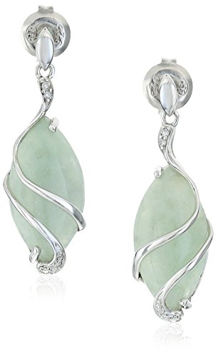 Sterling-Silver-Genuine-Green-Jade-Marquise-Cut-18x9mm-and-Diamond-Accent-Wire-Wrapped-Drop-Post-Earrings