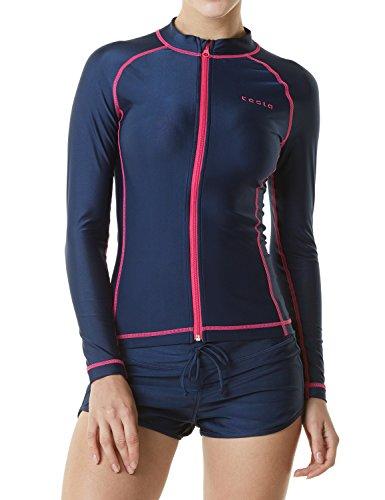 Tesla TM-FSZ01-NVY_Small Women's UPF 50+ Zip Front Long Sleeve Top Rashguard Swimsuit FSZ01 ()
