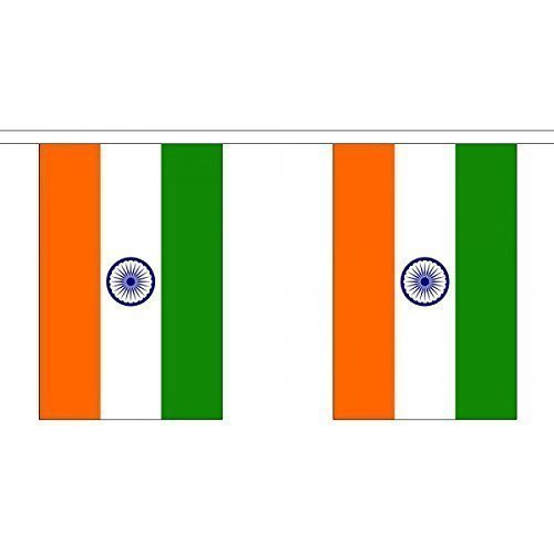 3 Metres 10 (9'' x 6'') Flag India Indian 100% Polyester Material Bunting Ideal Party Decoration For Street House Pubs Clubs Schools