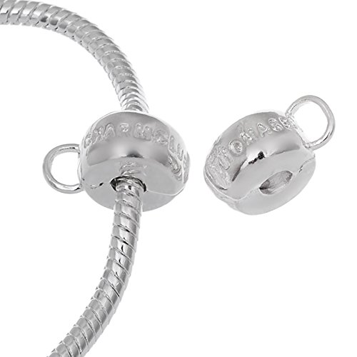 RUBYCA 20pcs White Silver Plated Clip Lock Stopper Clasp Beads fit European Charm Bracelet Model 136