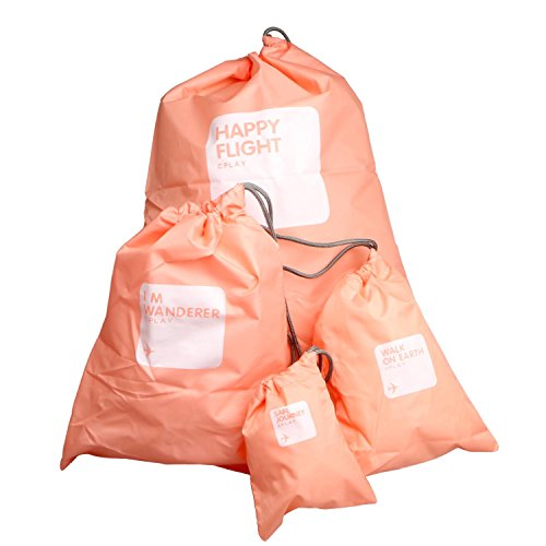 4 in 1 Universal Waterproof Drawstring Bags Sets Pink 4 Sizes - 4