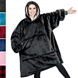 PAVILIA Premium Blanket Sweatshirt with Sherpa Lining | Super Soft, Warm, Reversible Hoodie Blanket for Adults Men Women Girls Boys Kids | Giant Hood, Oversized Fleece Pullover with Pocket (Charcoal)