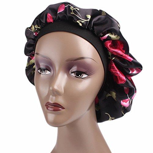 YLing Satin Sleep Cap For Women,Full Coverage Soft Night Sleep Hat Cap Salon Bonnet (Black)