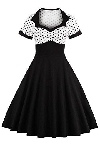 art Neck Short Sleeve Polka Dot Midi Dress, Black, US-16/Tag-2XL/02w005 ()